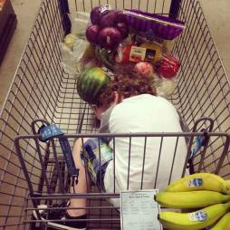 Grocery shopping is often nap time